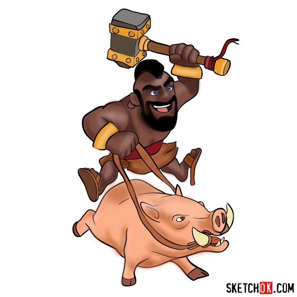How to draw Hog Rider from Clash of Clans