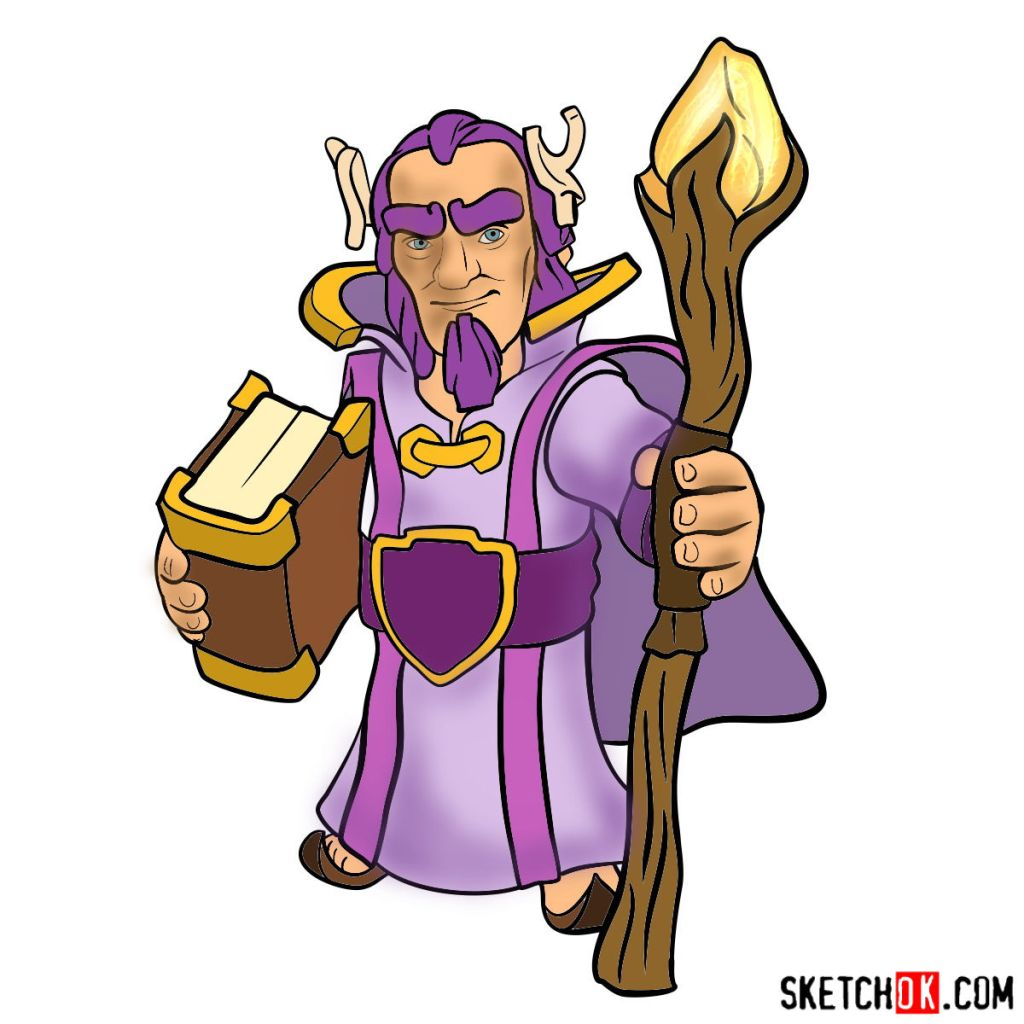 How to draw Grand Warden from Clash of Clans