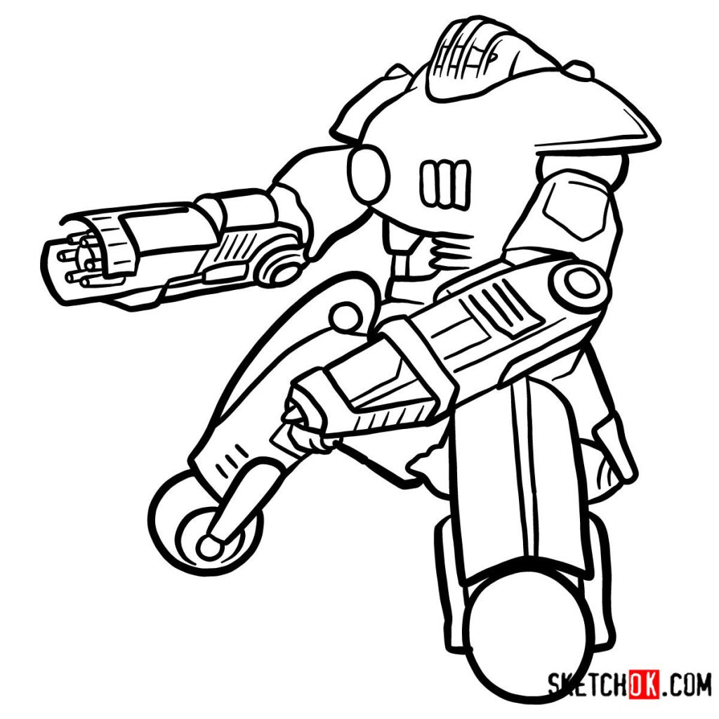 How to draw the Sentry bot | Fallout