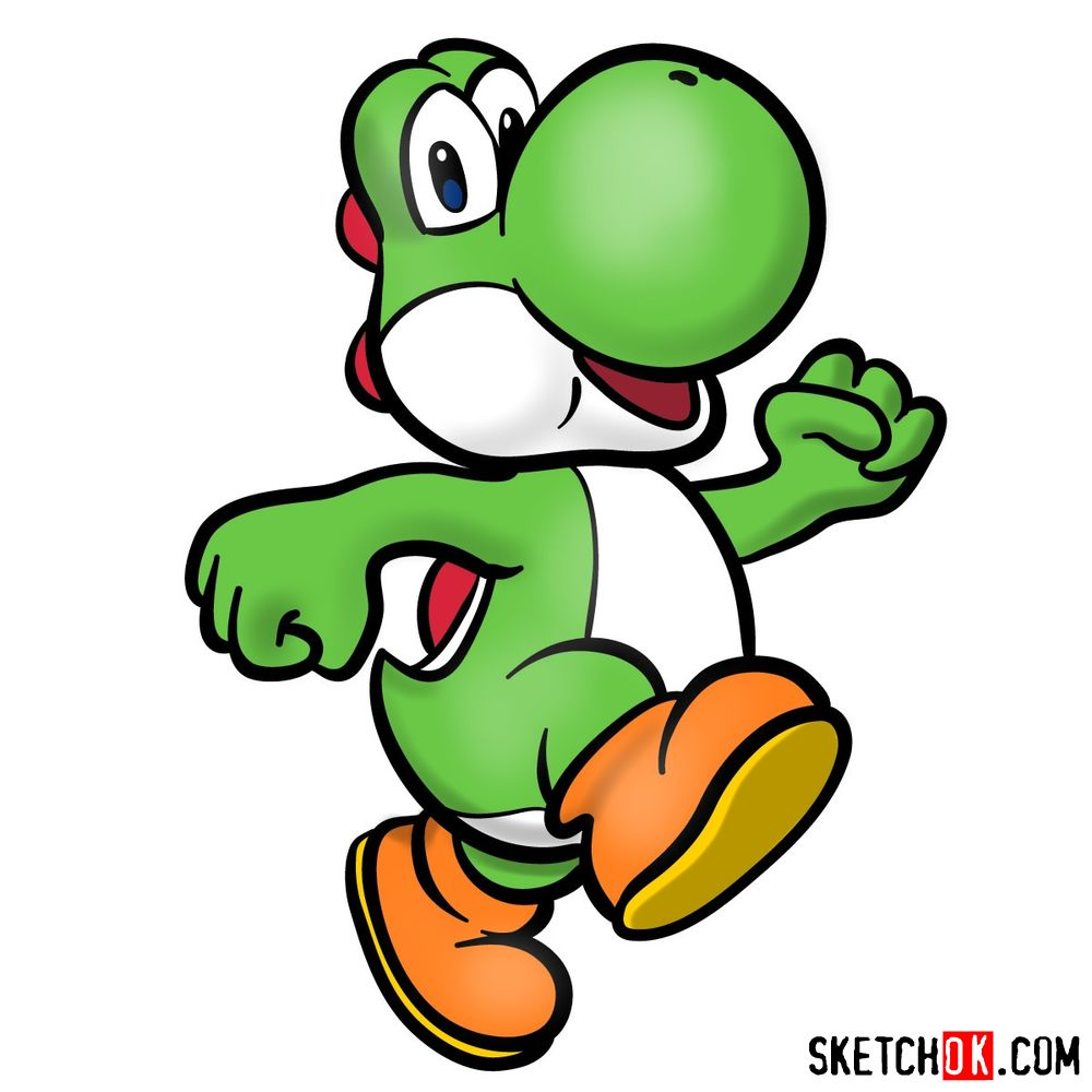 how to draw yoshi from super mario games  sketchok  step