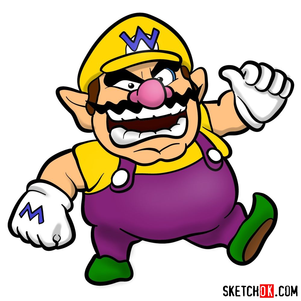 How to draw Wario