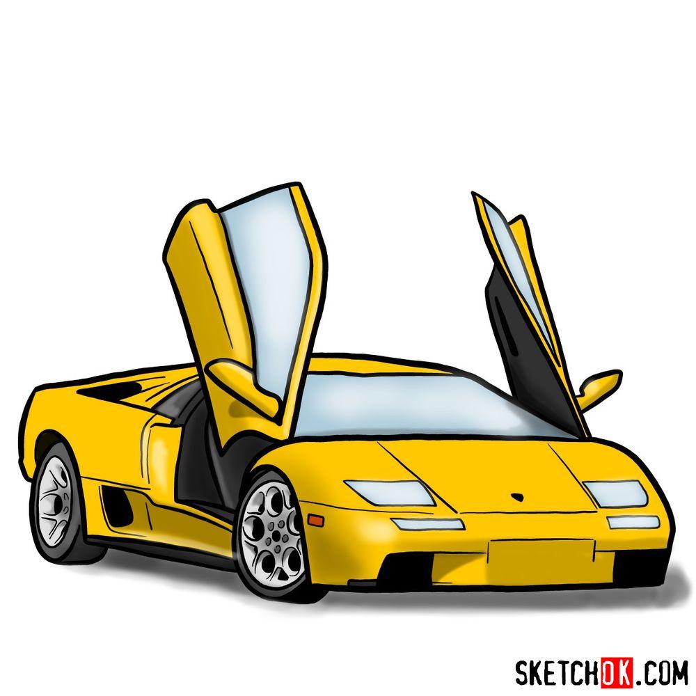 How to draw Lamborghini Diablo with open doors