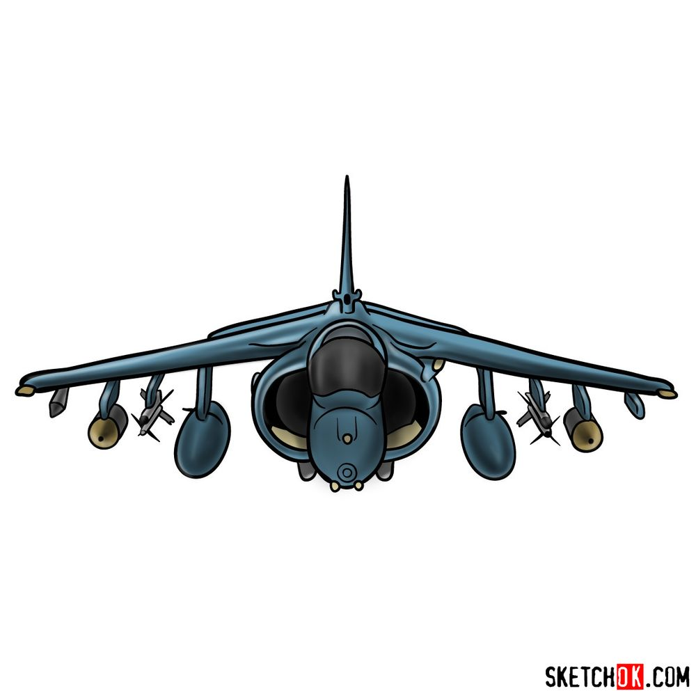 How to draw Hawker Siddeley Harrier British military jet
