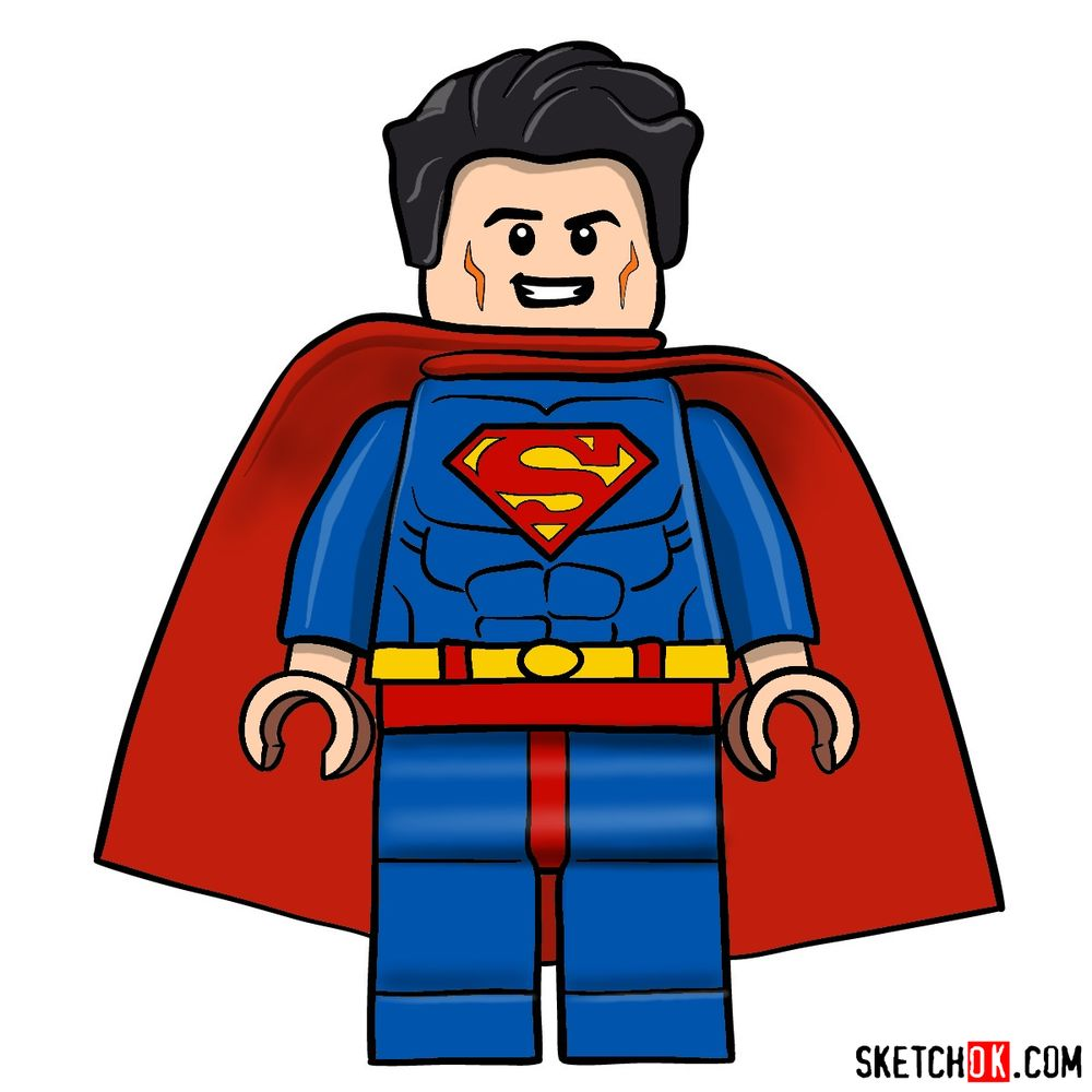 How to draw Superman LEGO minifigure
