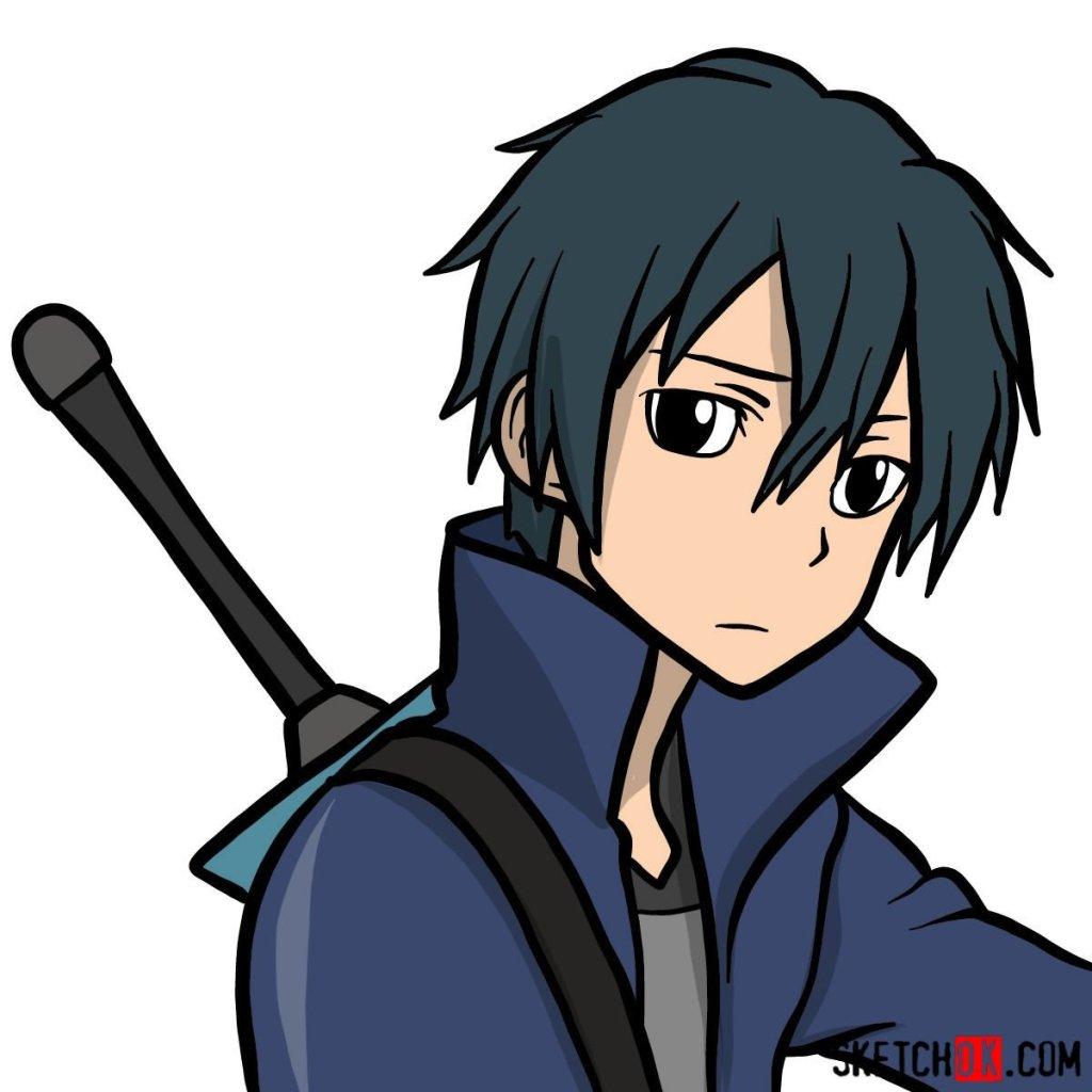 How to draw Kirito's portrait