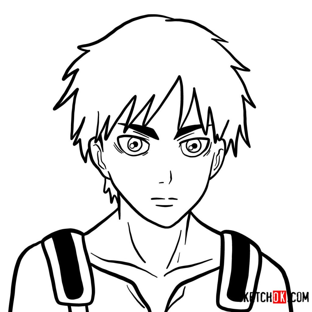 How to draw Eren Jaeger's face
