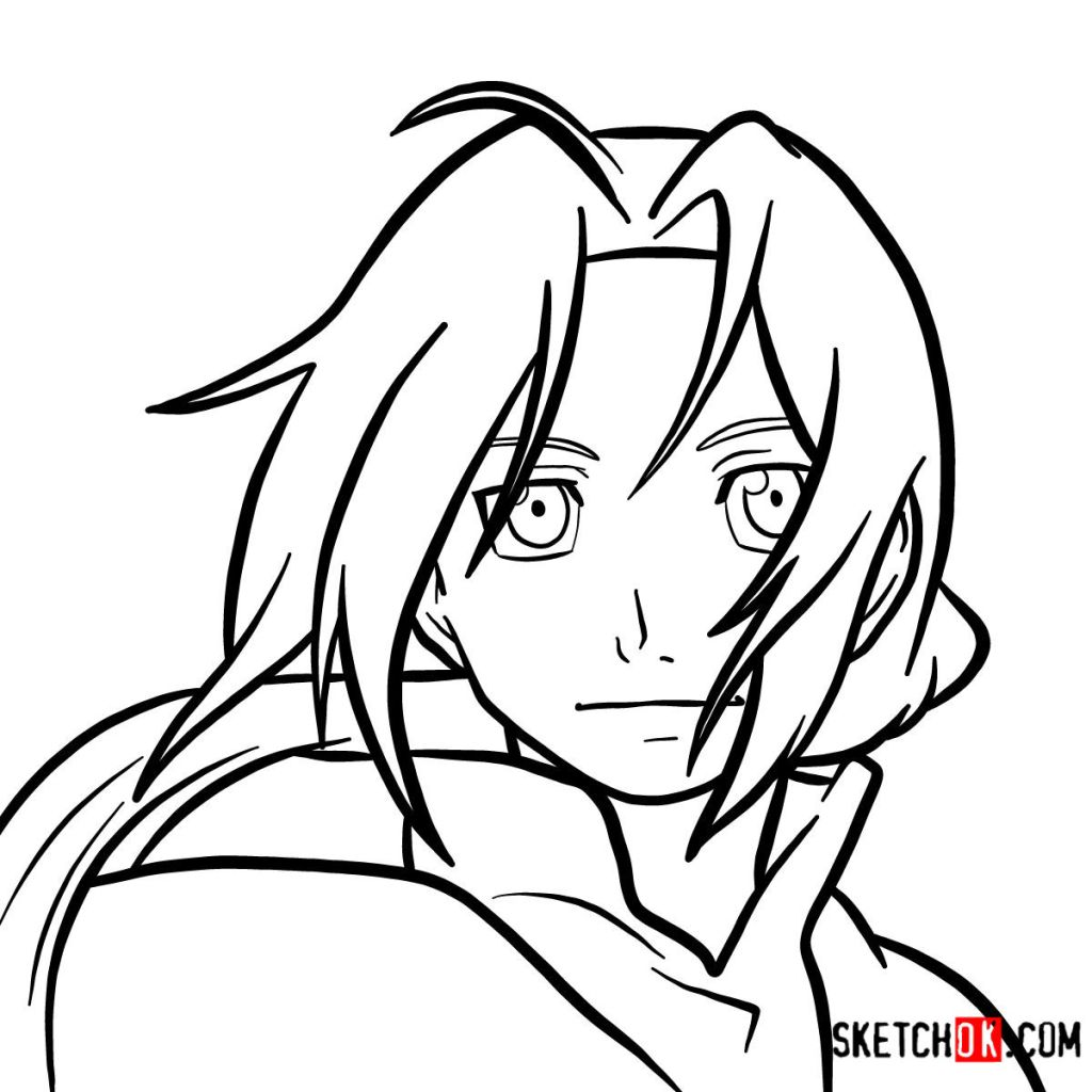 How to draw Edward Elric's face | Fullmetal Alchemist