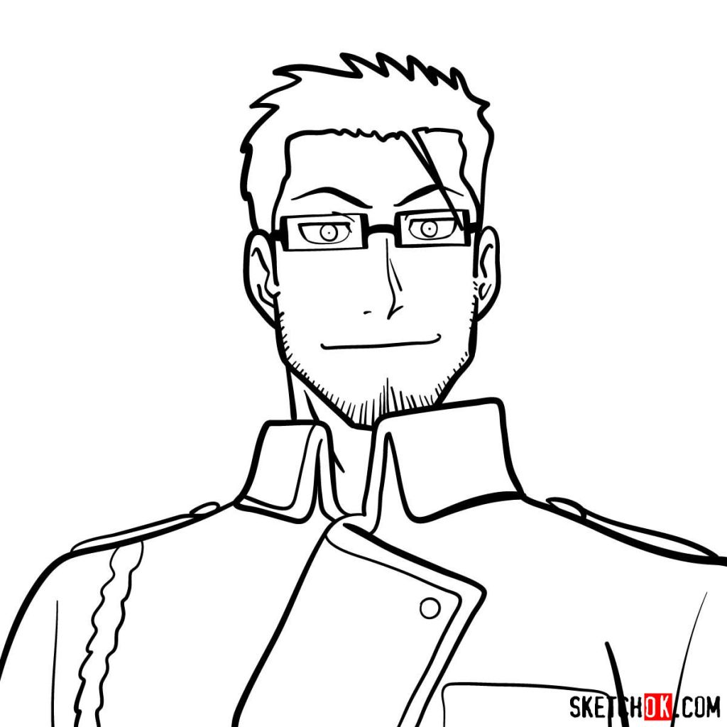 How to draw Maes Hughes from Fullmetal Alchemist anime