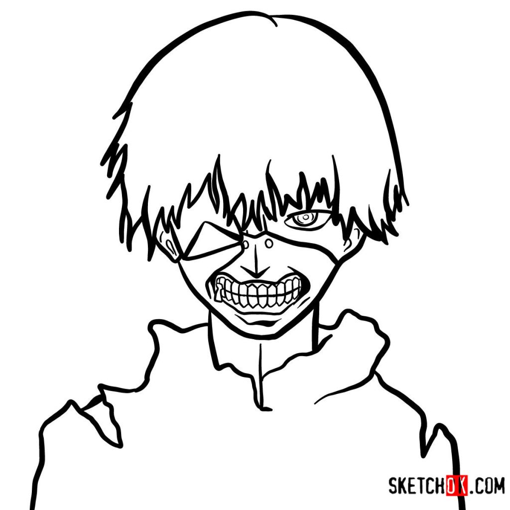 How to draw Ken Kaneki ghoul in a mask | Tokyo Ghoul