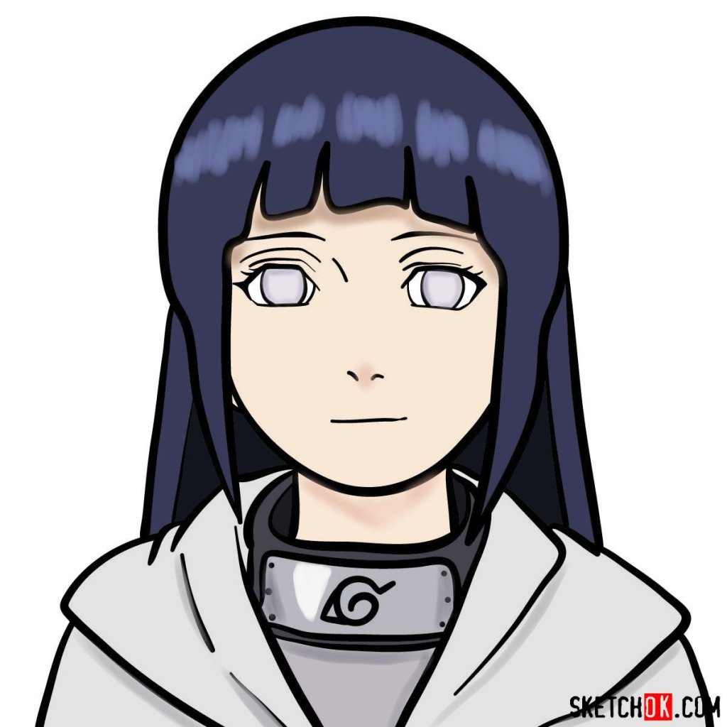 How to draw the face of Hinata (Naruto anime)