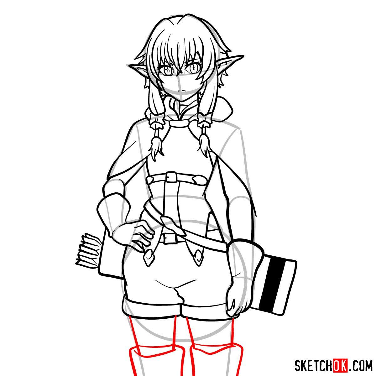 20 steps drawing tutorial of High Elf Archer (Goblin
