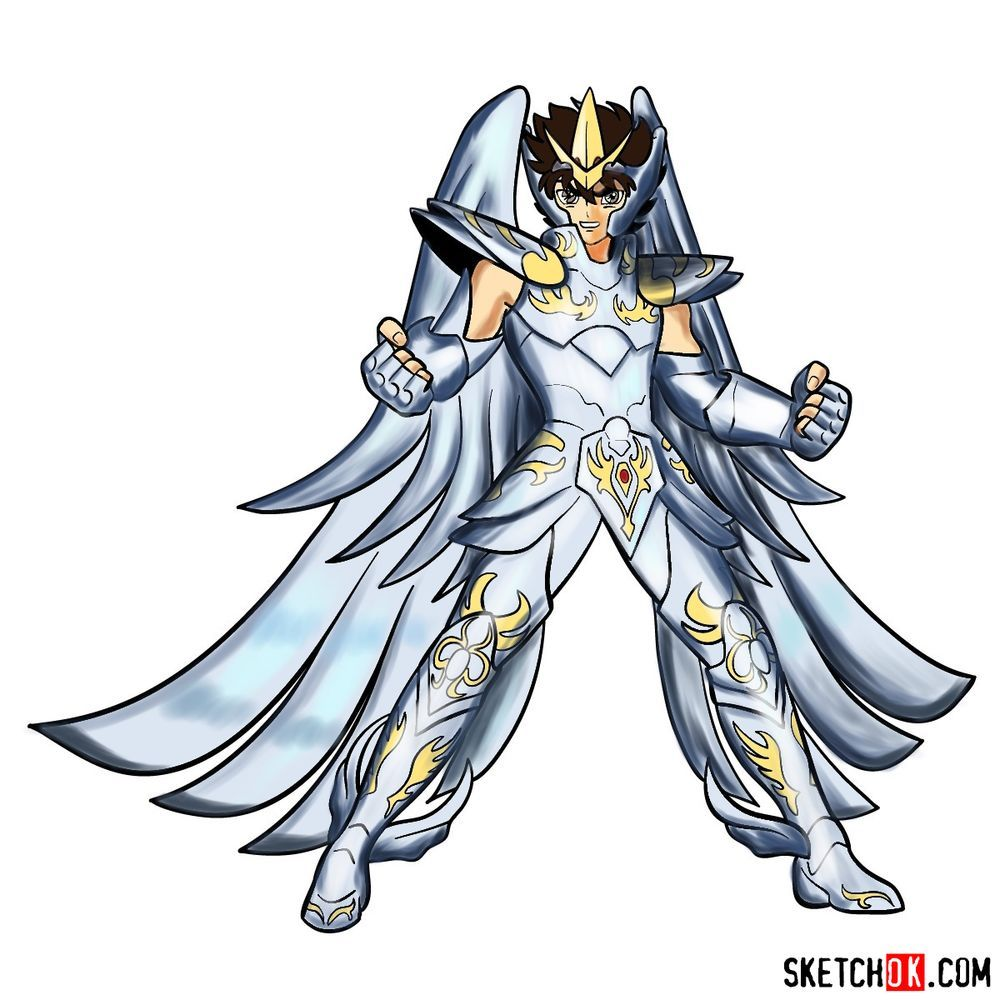 How to draw Pegasus Seiya in God Cloth
