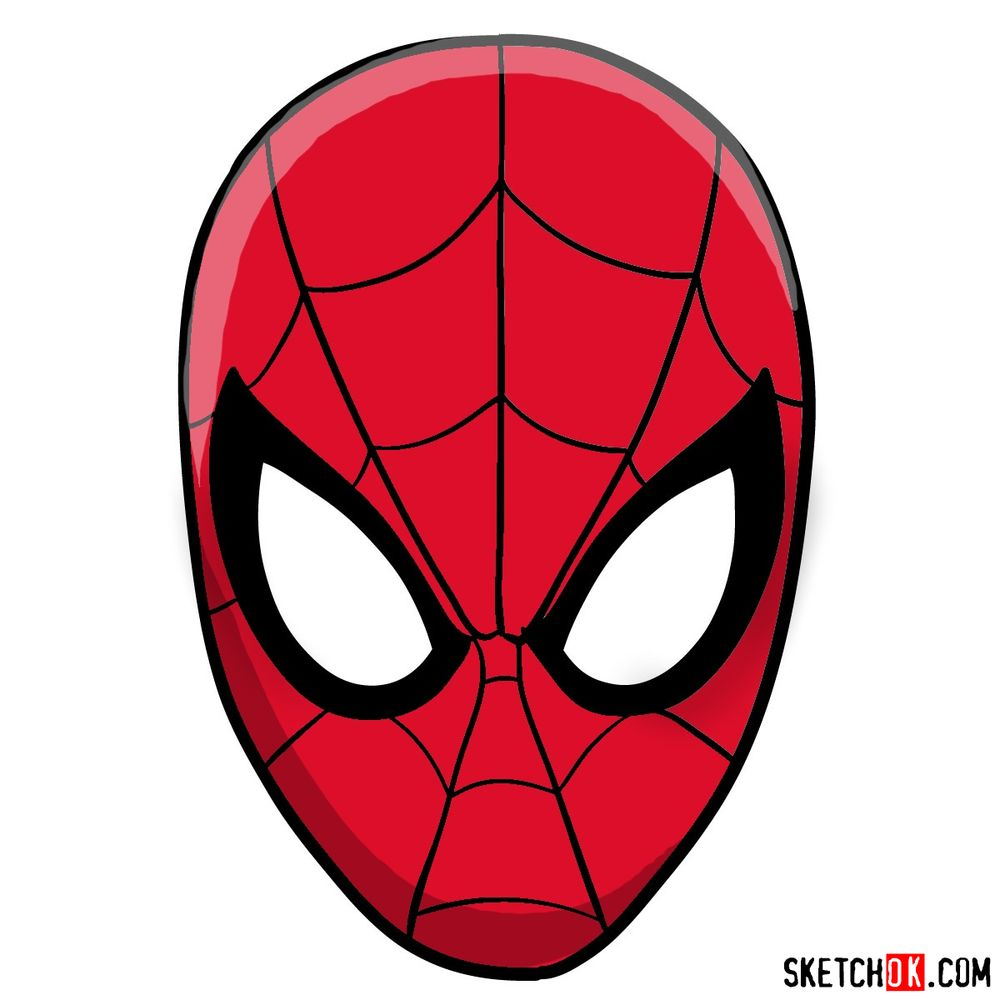 How to draw Spider-Man mask
