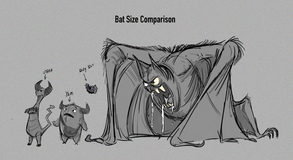 Uther, Yam, baby bat and giant bat size comparison.