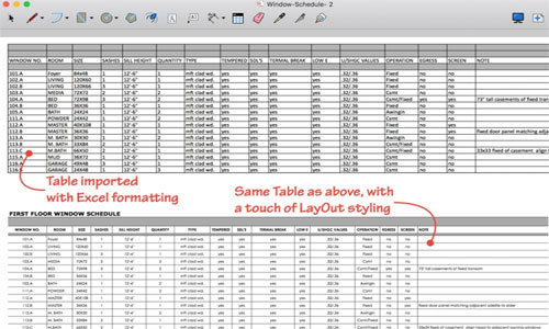 Use Tables for Managing Spreadsheet in LayOut