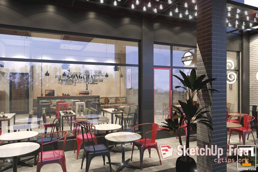 1004 Interior Milk Tea Shop Sketchup By Ngoc Thach Model
