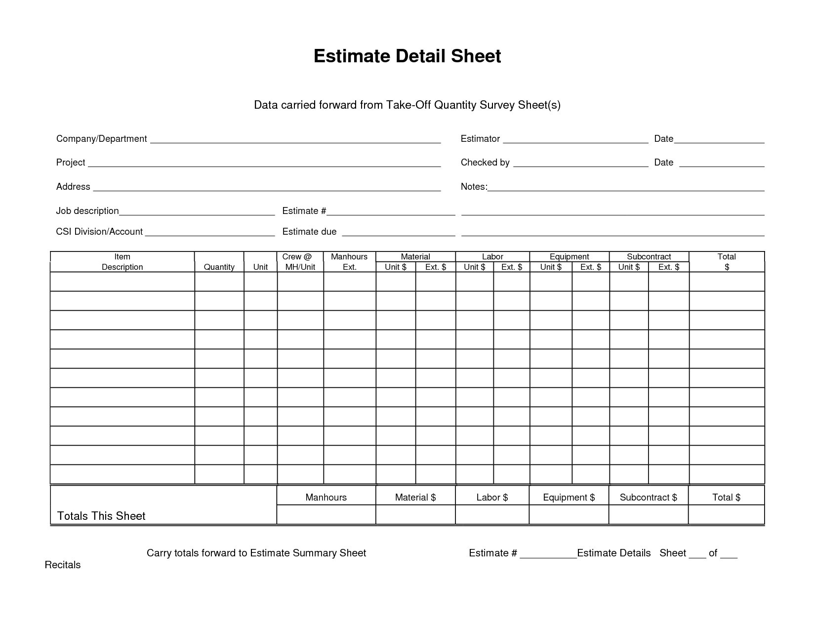 Estimate Detail Sheet Data Carried Forward From Quantity