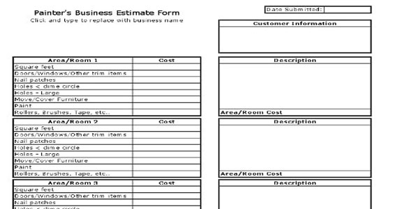 contractor estimate sheet