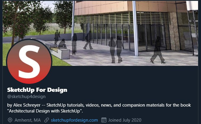 New Twitter Handle for My SketchUp Tutorials, News, and More: @sketchup4design