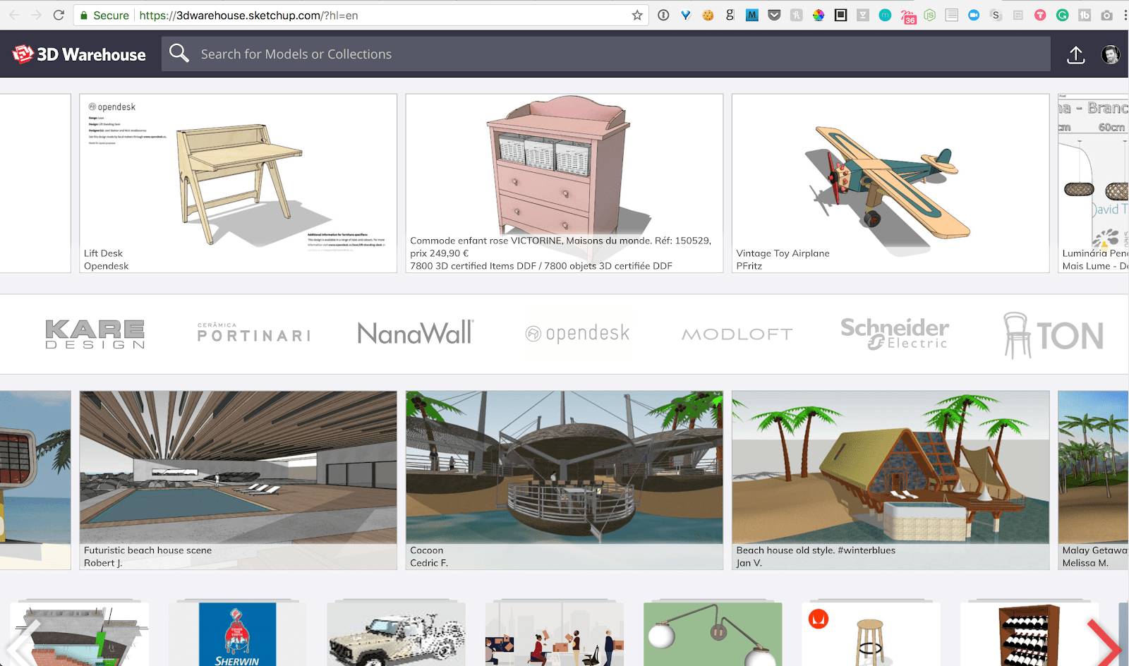 hight resolution of 3d warehouse homepage