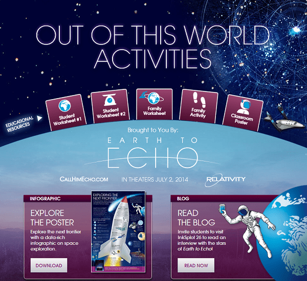 Earth to Echo Free Printable Activities