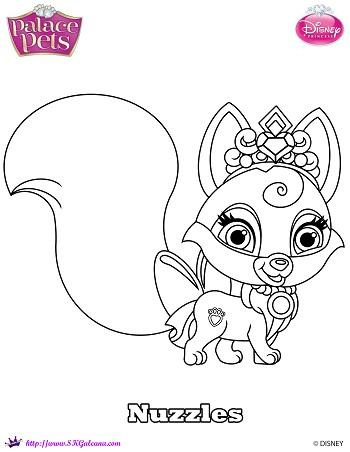 Disney princess palace pet coloring page of nuzzles for Princess pets coloring pages
