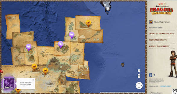 Interactive map for Dragons Race to the Edge