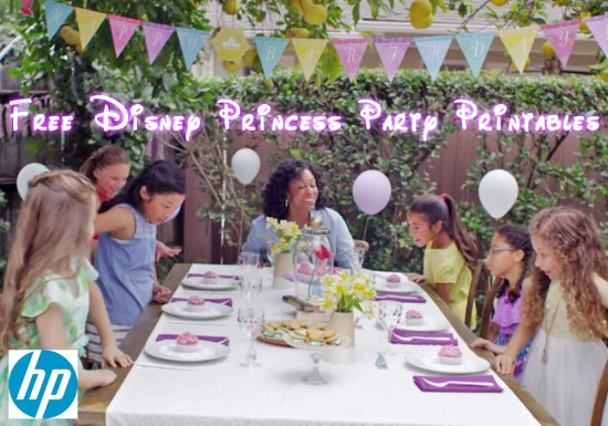 disney Princess Party Printables sponsored by HP