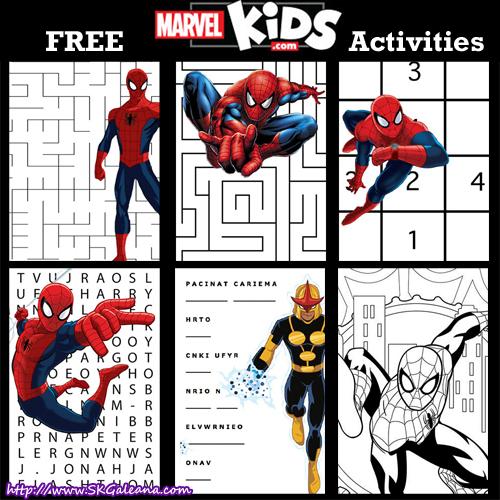 Marvel Kids Free Printable Activities