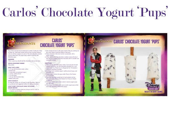 Descendants recipe Carlos Chocolate yogurt pups