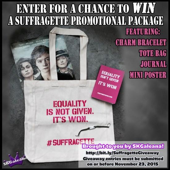 Suffregette promotional Giveaway SKGaleana