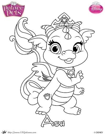Free Princess Palace Pets Coloring Page of Ash | SKGaleana
