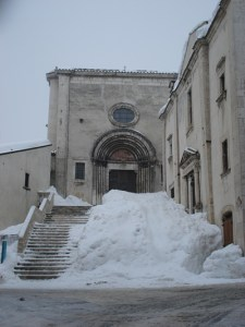 Snow on the steps of the church in Pescocostanzo