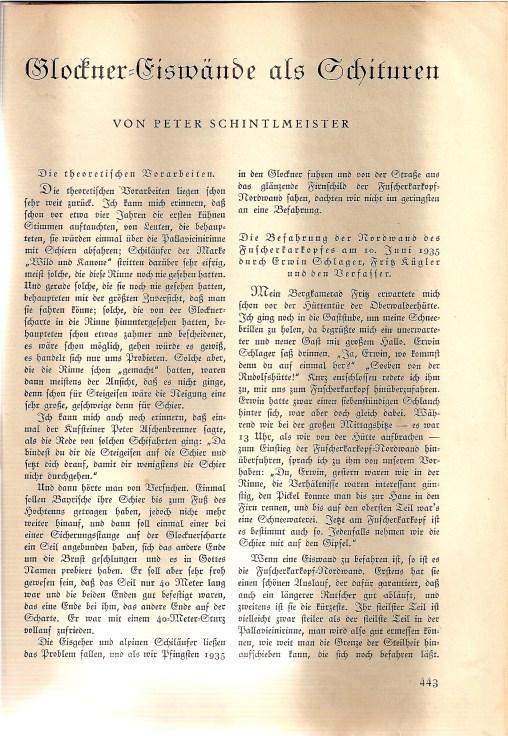 Peter Schintelmeister über Skibefahrungen in der Glocknergruppe – 1936