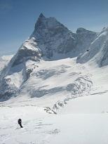 skiing underneath the Matterhorn