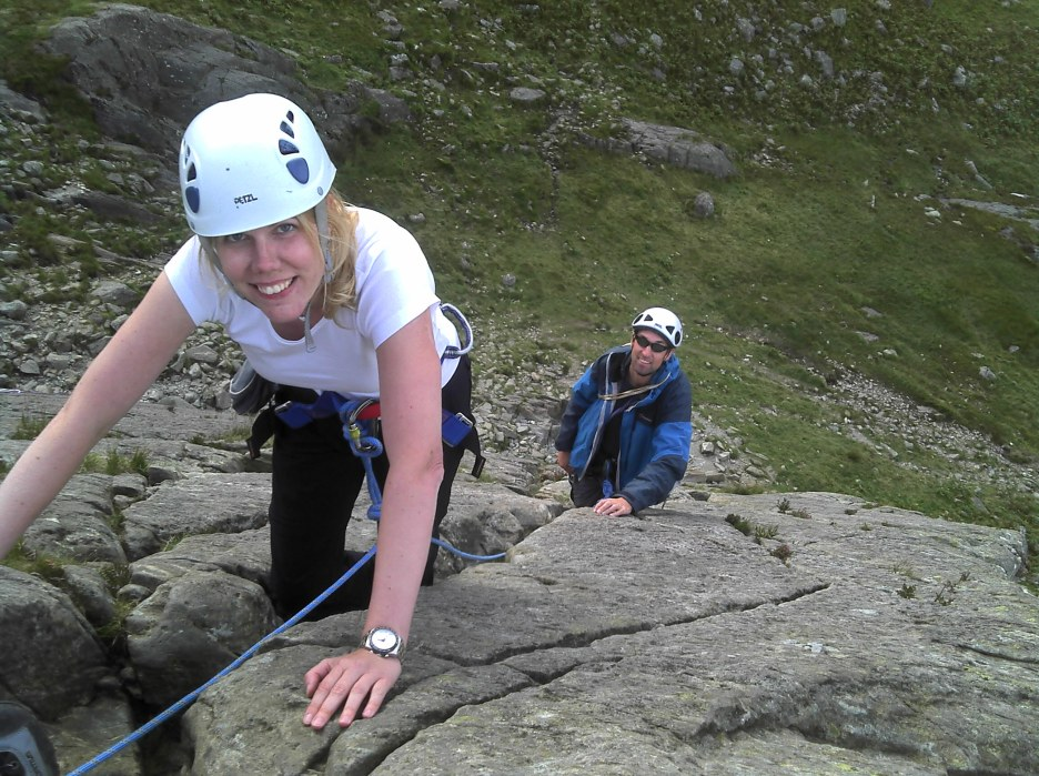 Climbing adventures at all levels.Nora and Craig climbing at Little Tryfan Bach, North Wales