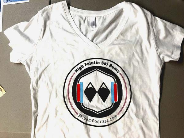 ladies tshirt with skibumpodcast.com logo