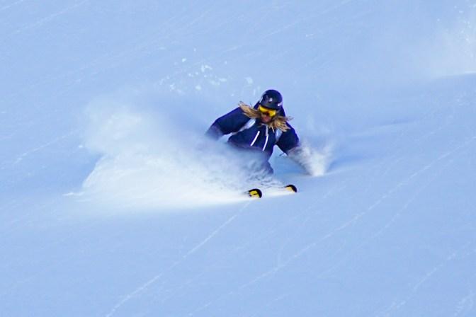 Simon skiing powder on the backside of the Richmond Range