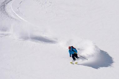 Ben skiing the upper bowl