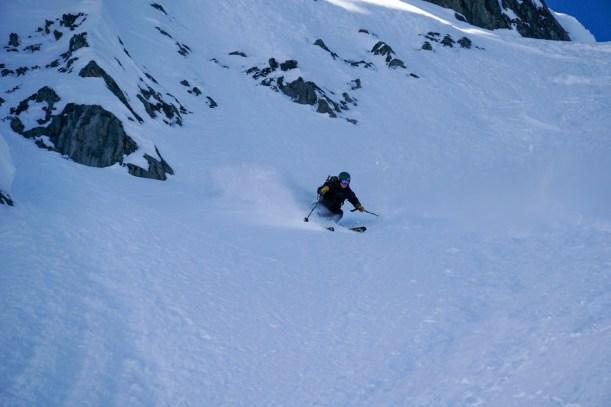 Jaime skiing Herdman's Couloir