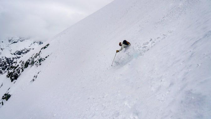 Hans skiing the summit slope on Mt Edgar Thompson