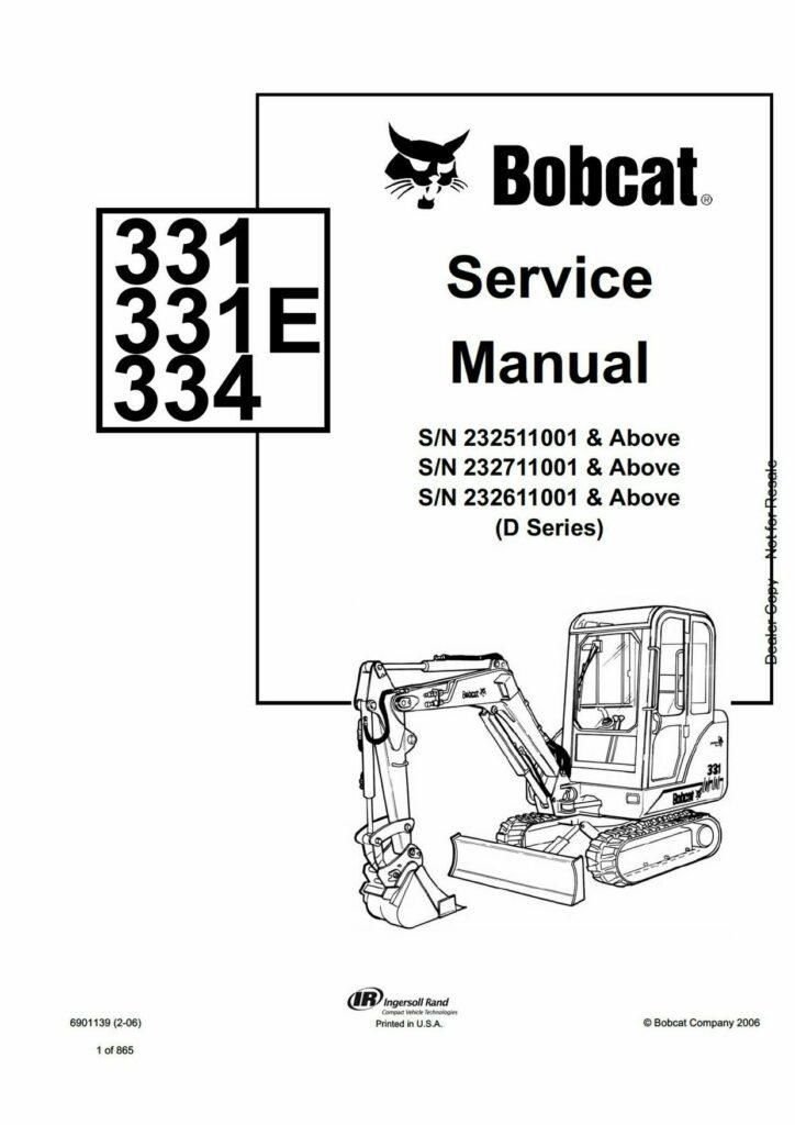Bobcat Service Manual Bobcat 331 334 compact excavator