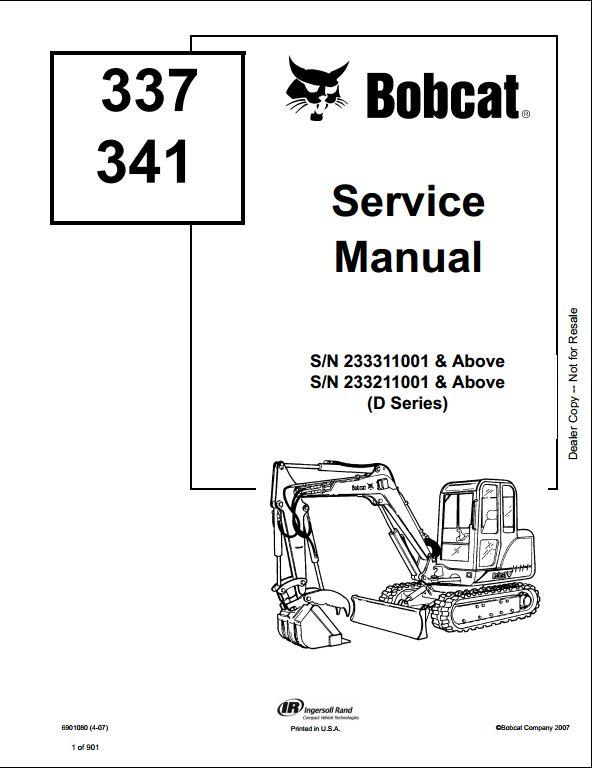 Bobcat Service Manual Bobcat 337 341 excavator service