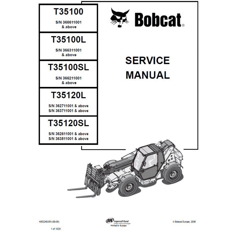 Bobcat t35100 t35120 telescopic handler service manual