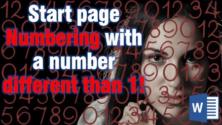 Start page numbering with different number in Word