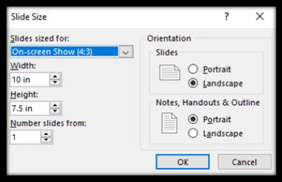 Choose custom slide size in PowerPoint