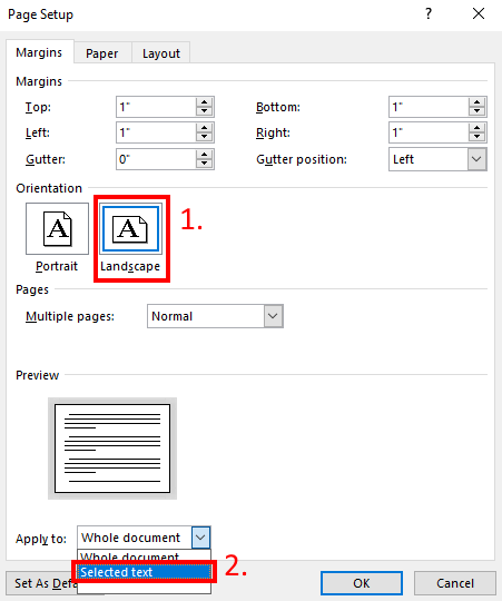 Create landscape page in Microsoft Word