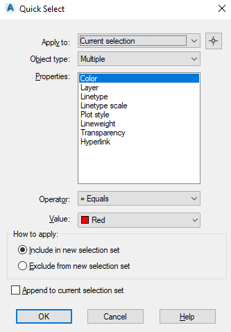 Quick select text by Color in AutoCAD
