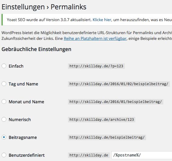 Permalinks in WordPress ändern