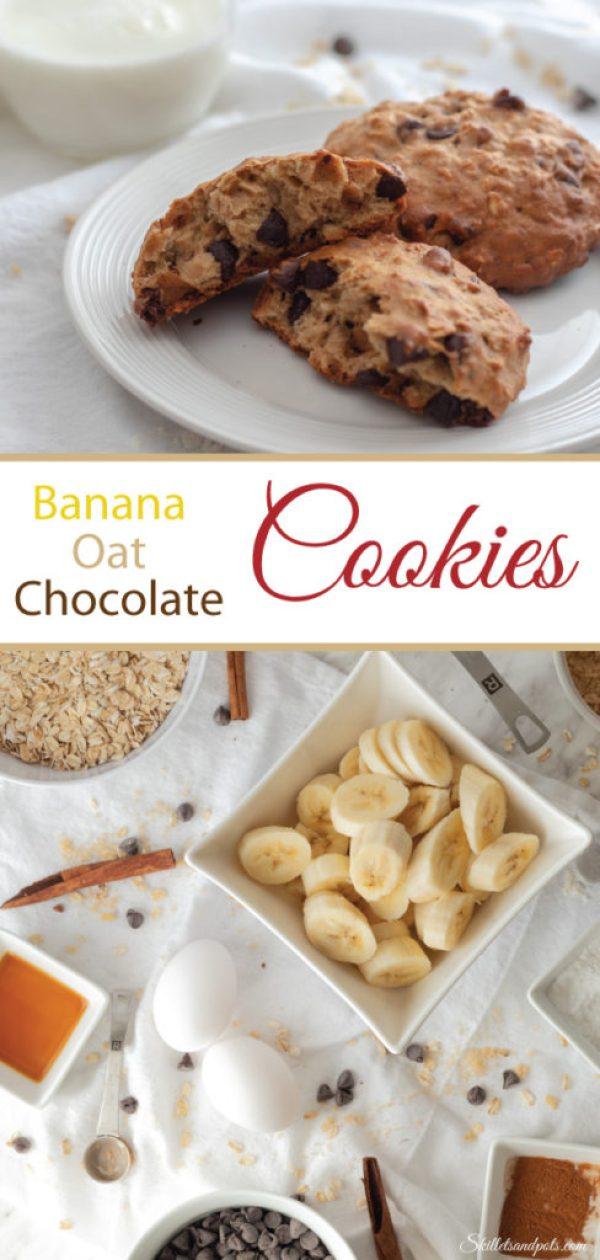 Banana oat chocolate cookies